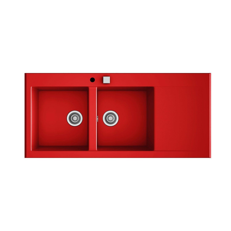 Evier encastrer quartz et r sine rouge 2 bacs avec for Evier avec meuble leroy merlin