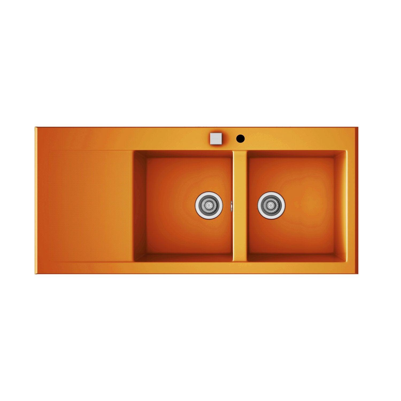 Evier encastrer quartz et r sine orange 2 bacs avec - Leroy merlin evier 2 bacs ...