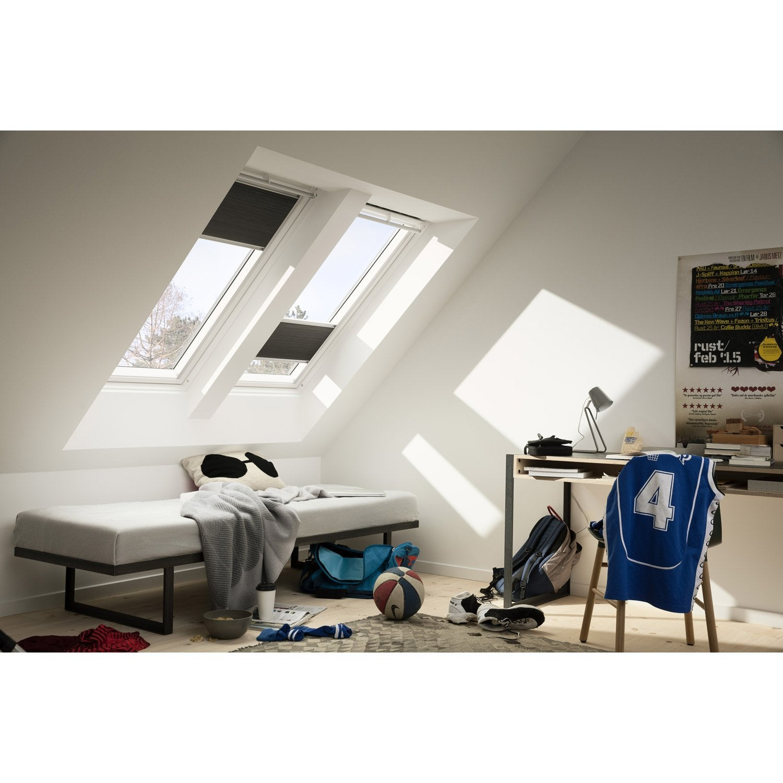 store fen tre de toit pliss occultant isolant noir fhc. Black Bedroom Furniture Sets. Home Design Ideas