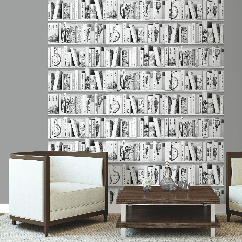 Papier peint intiss biblioth que brooklyn gris fonc for Tapisserie montee escalier