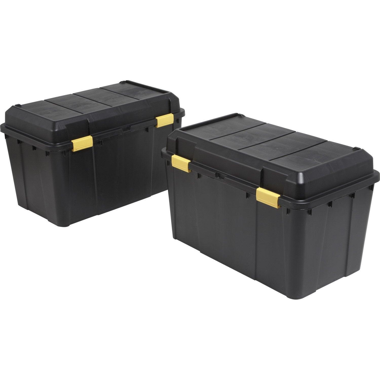 Lot de 2 malles en plastiques 115 litres noires leroy - Grande boite de rangement plastique ...
