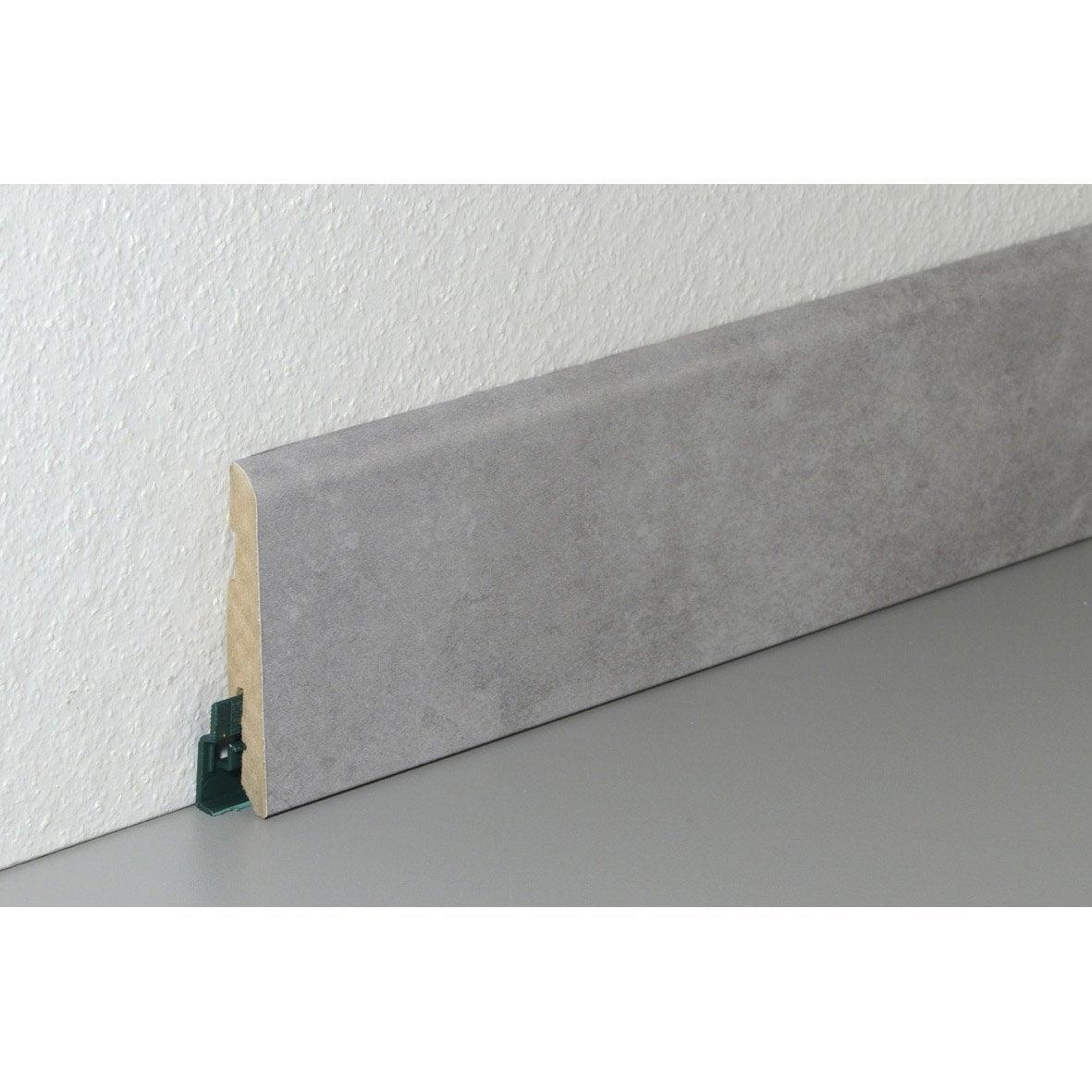 plinthe pour sol stratifi d cor gris clair 220 cm x 78 mm x 14 mm leroy merlin. Black Bedroom Furniture Sets. Home Design Ideas