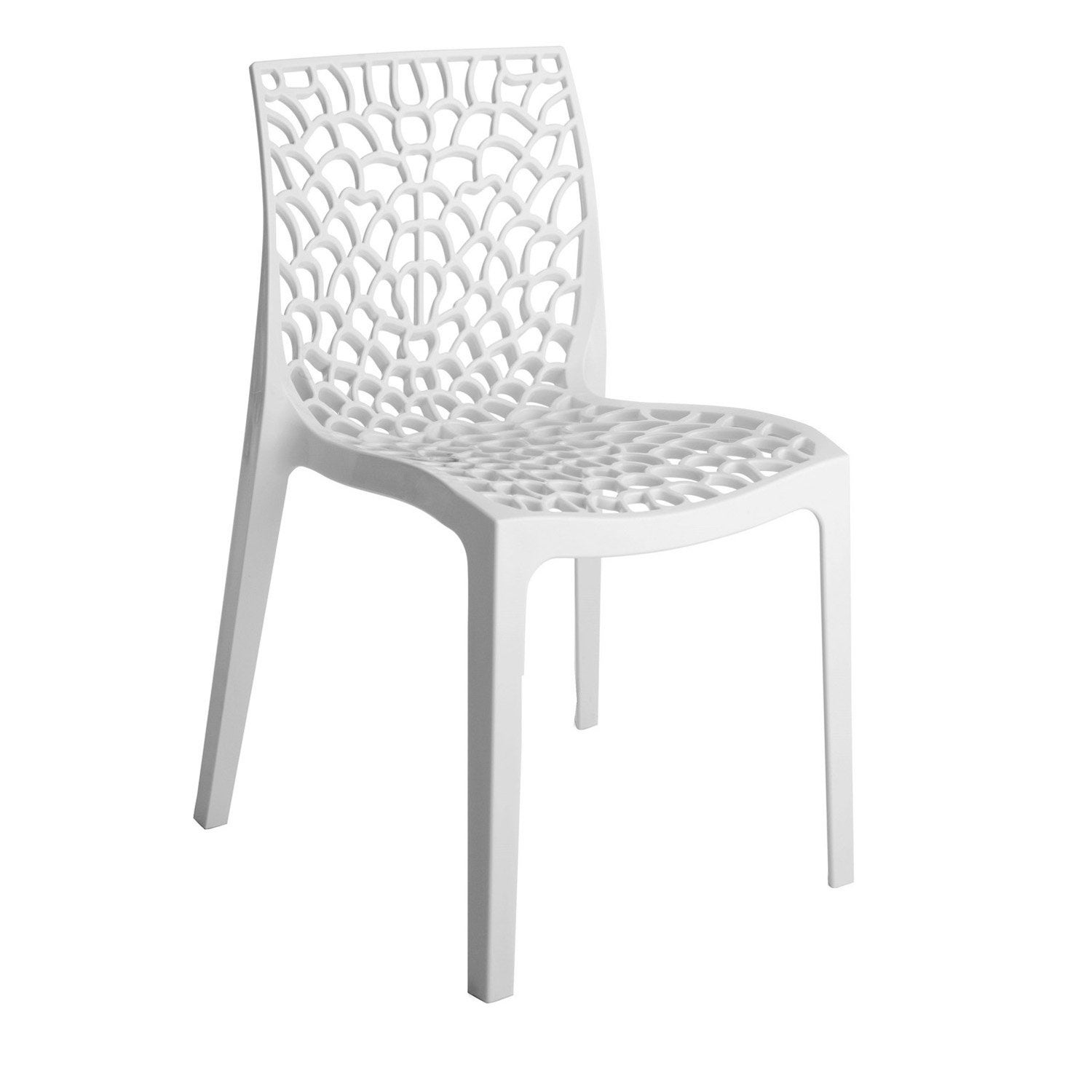 Chaise de jardin en r sine grafik blanc leroy merlin for Salon de jardin blanc design