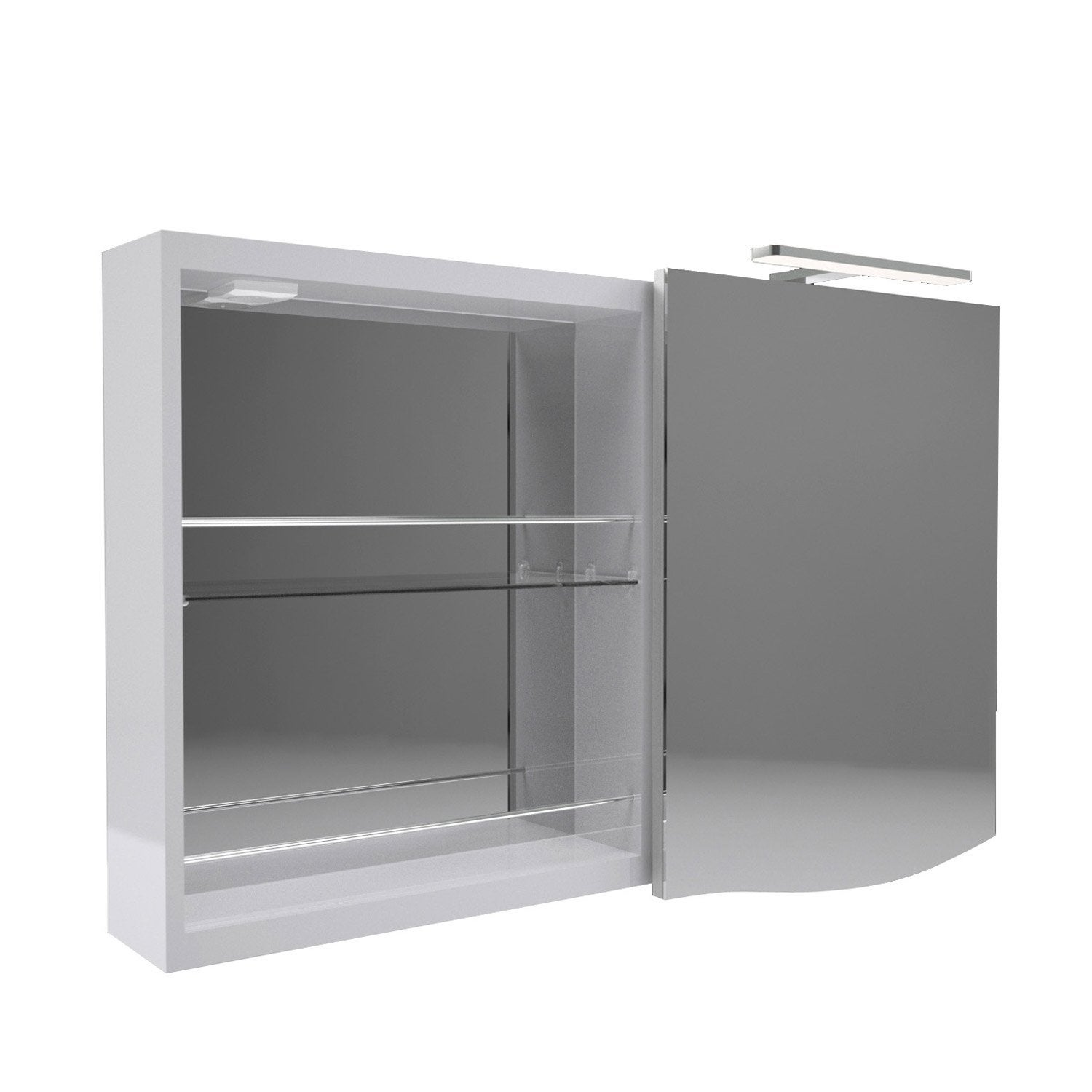 armoire de toilette lumineuse l 100 cm gris decotec. Black Bedroom Furniture Sets. Home Design Ideas