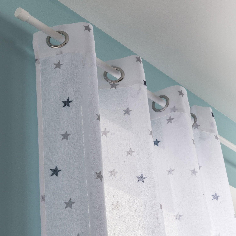 voilage tamisant stars bleu et blanc x cm inspire leroy merlin. Black Bedroom Furniture Sets. Home Design Ideas