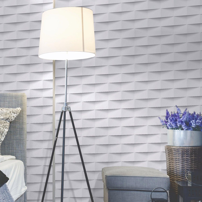 Papier peint intiss 3d origami blanc leroy merlin for Cuisine leroy merlin 3d