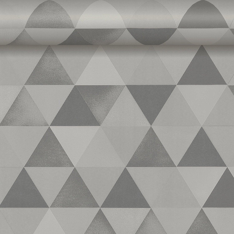papier peint intiss triangle gris leroy merlin. Black Bedroom Furniture Sets. Home Design Ideas