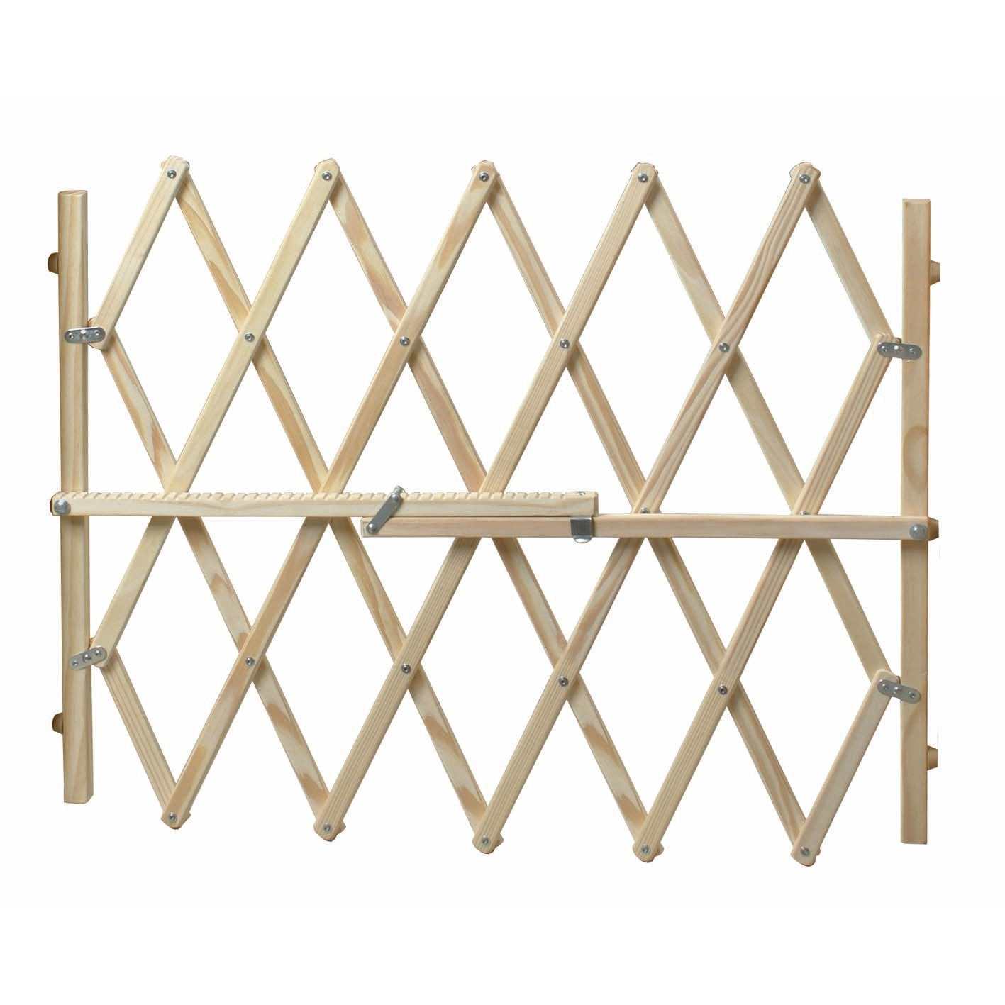 Barri re extensible animaux en bois naturel long min max for Barriere de jardin en bois