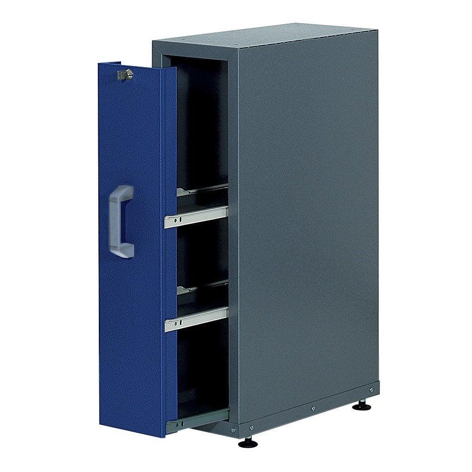 Armoire de rangement encastrable en m tal bleu kupper 23 for Armoire de rangement a tiroir