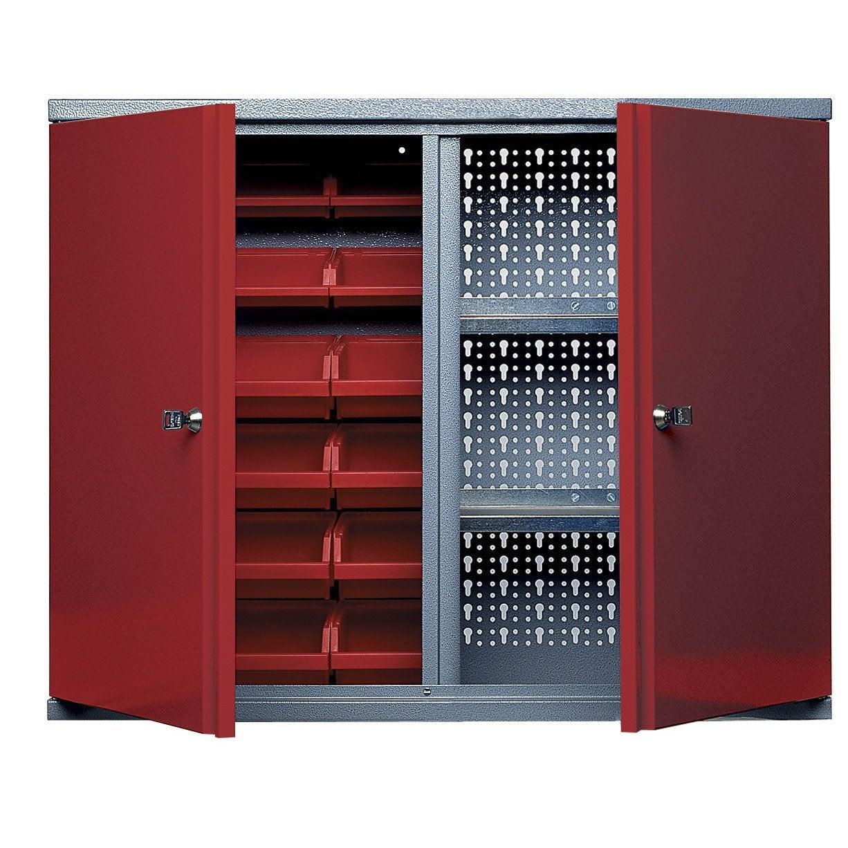 Armoire de rangement avec 18 bo tes becs en m tal rouge kupper 60 cm 2 portes leroy merlin - Armoire de rangement en plastique leroy merlin ...