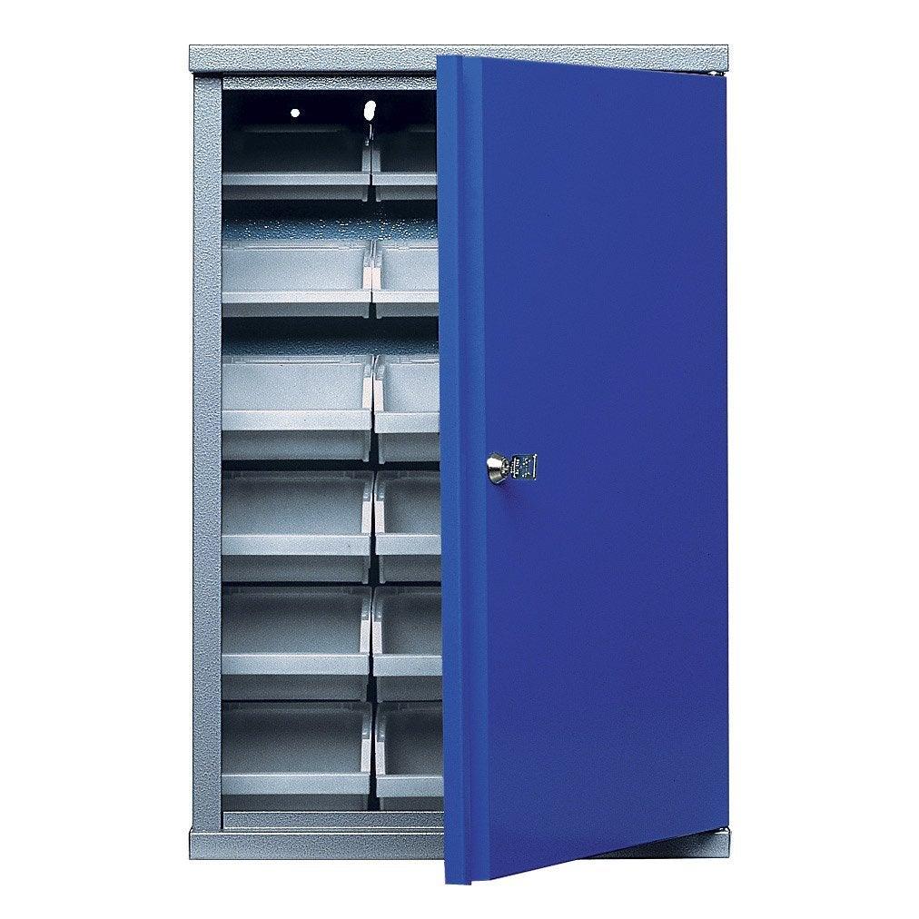 armoire de rangement avec 18 bo tes becs en m tal bleu. Black Bedroom Furniture Sets. Home Design Ideas