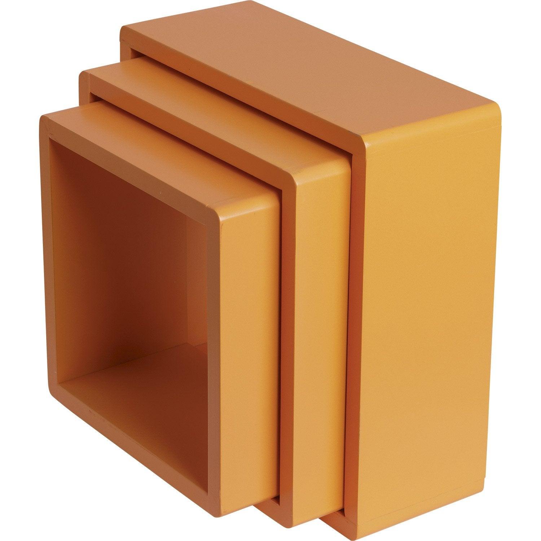 Triple cube tonic spaceo en mdf orange orange n 5 30x30 for Cube leroy merlin