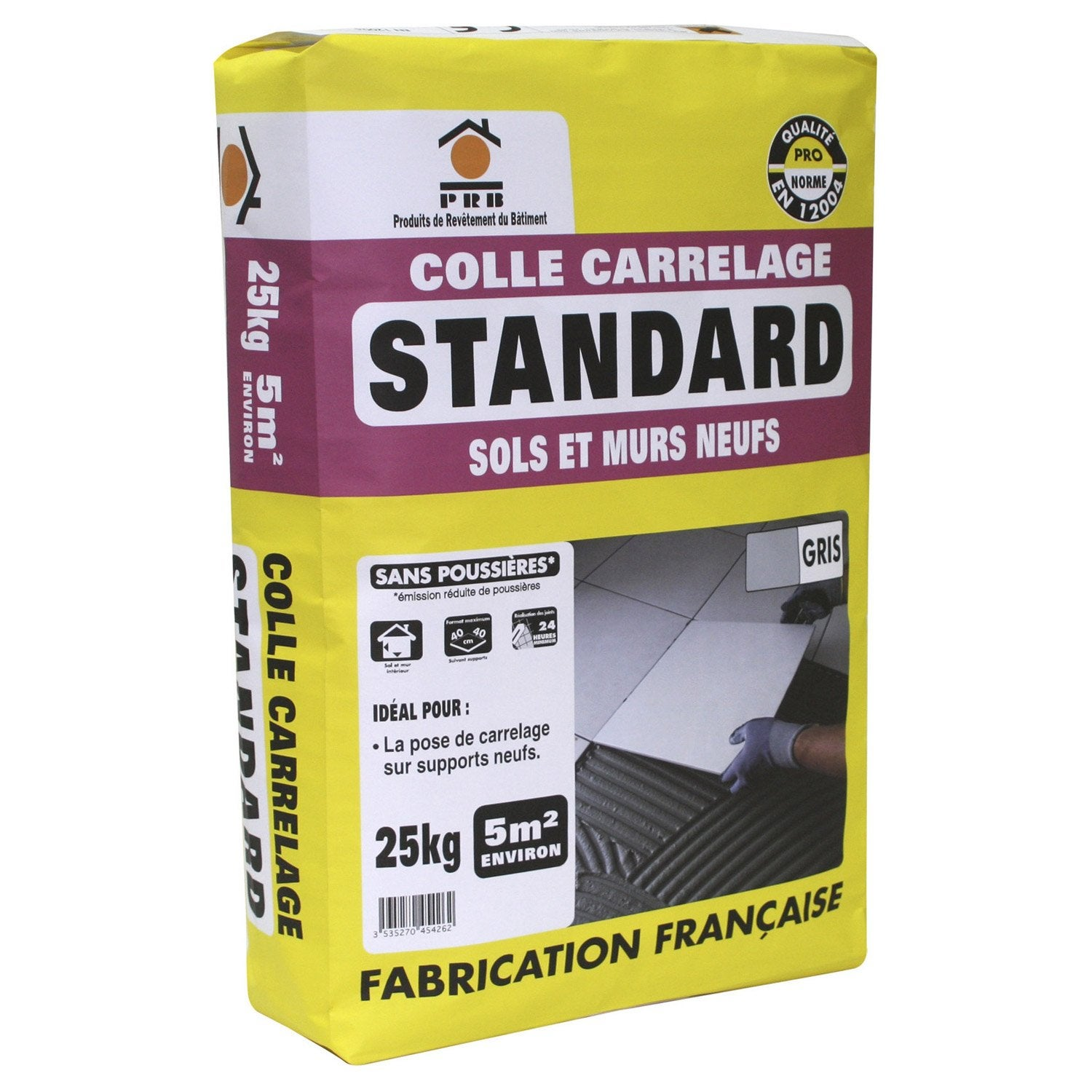 Mortier colle standard pour carrelage mur et sol 25 kg for Colle carrelage exterieur leroy merlin