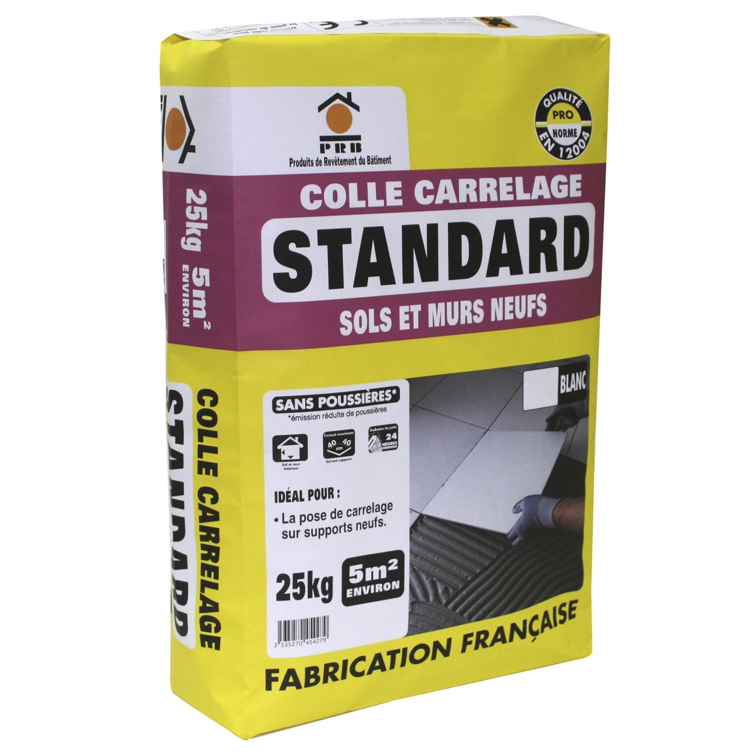 Mortier colle standard pour carrelage mur et sol 25 kg for Carrelage sans colle leroy merlin