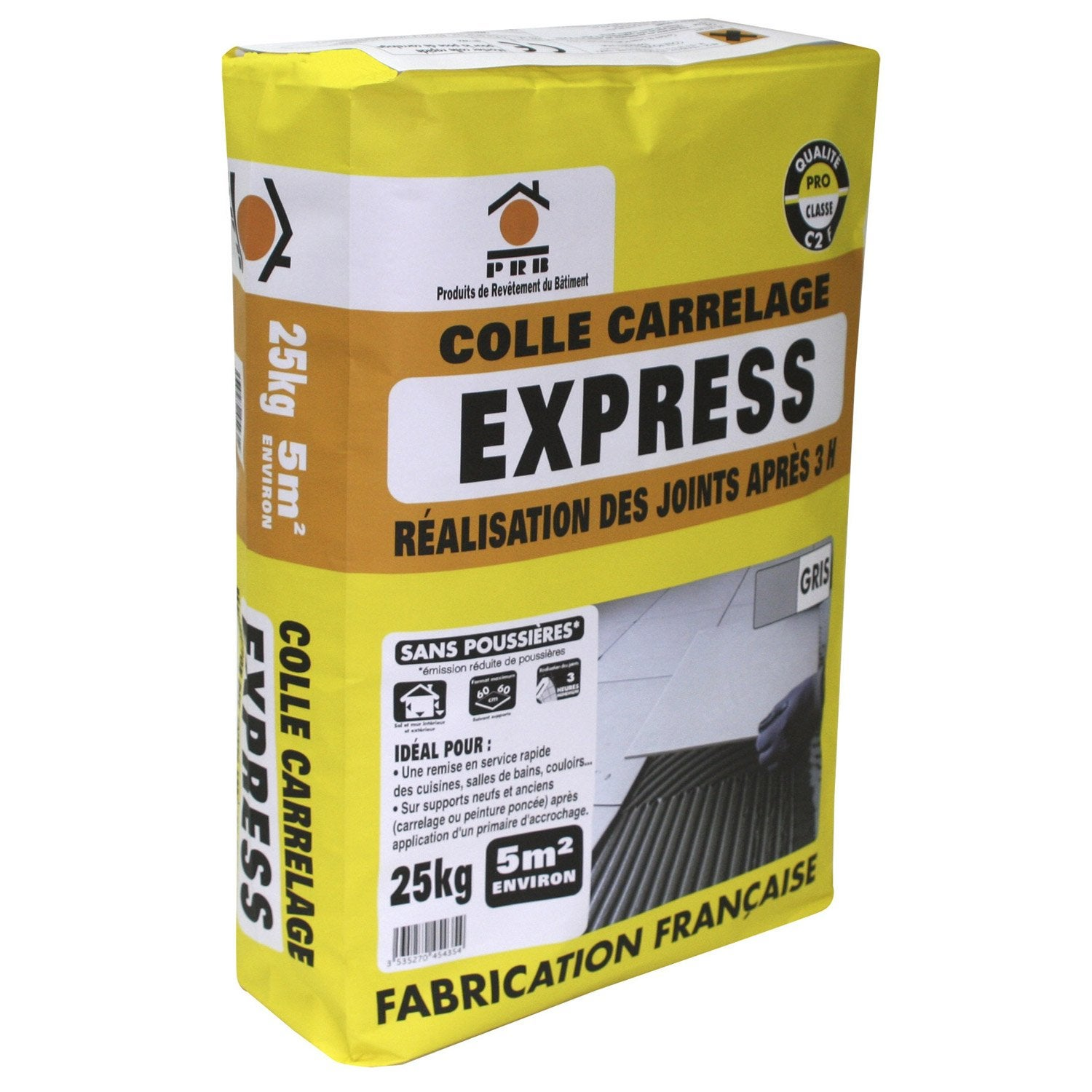 Mortier colle express pour carrelage mur et sol 25 kg for Carrelage sans colle leroy merlin
