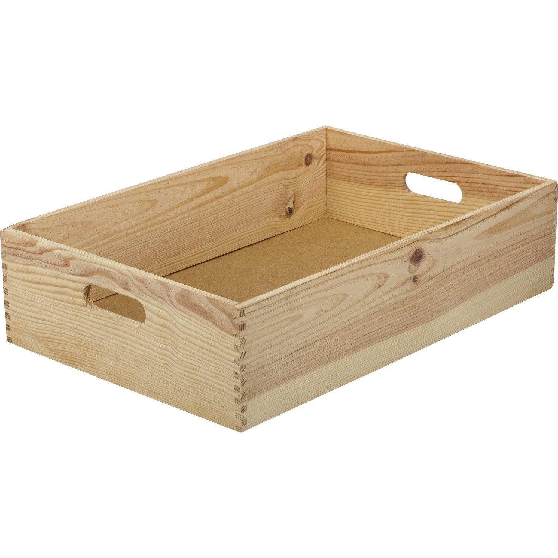 Caisse solo en pin l 40 x p 60 x h 15 cm leroy merlin for Caisse de rangement exterieur