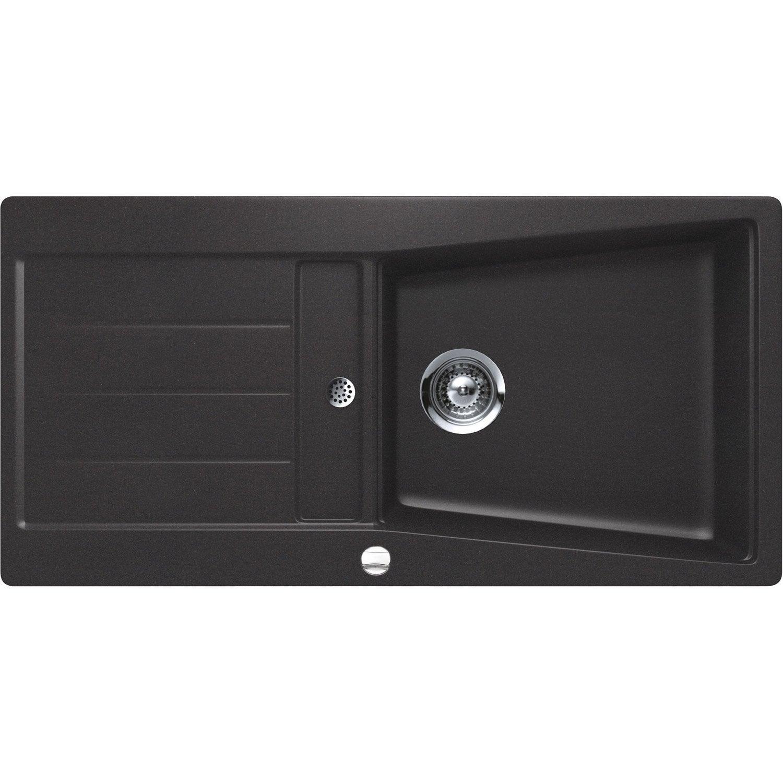evier encastrer granit et r sine noir mensa 1 grand bac avec gouttoir leroy merlin. Black Bedroom Furniture Sets. Home Design Ideas