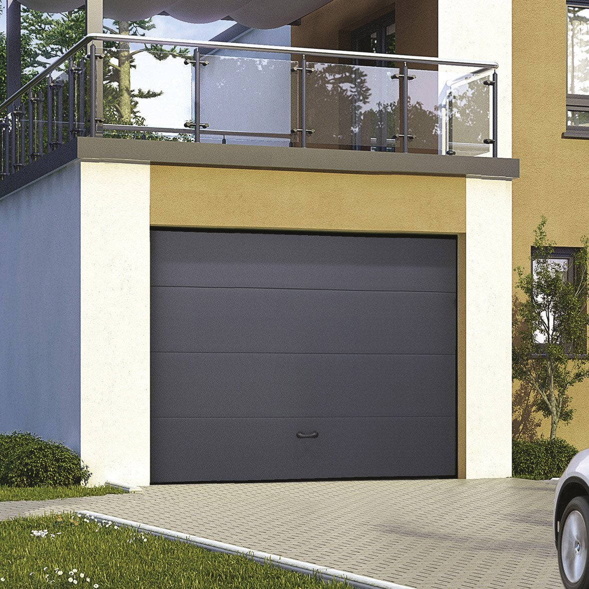 Porte de garage sectionnelle motoris e excellence rainures for Porte de garage moss
