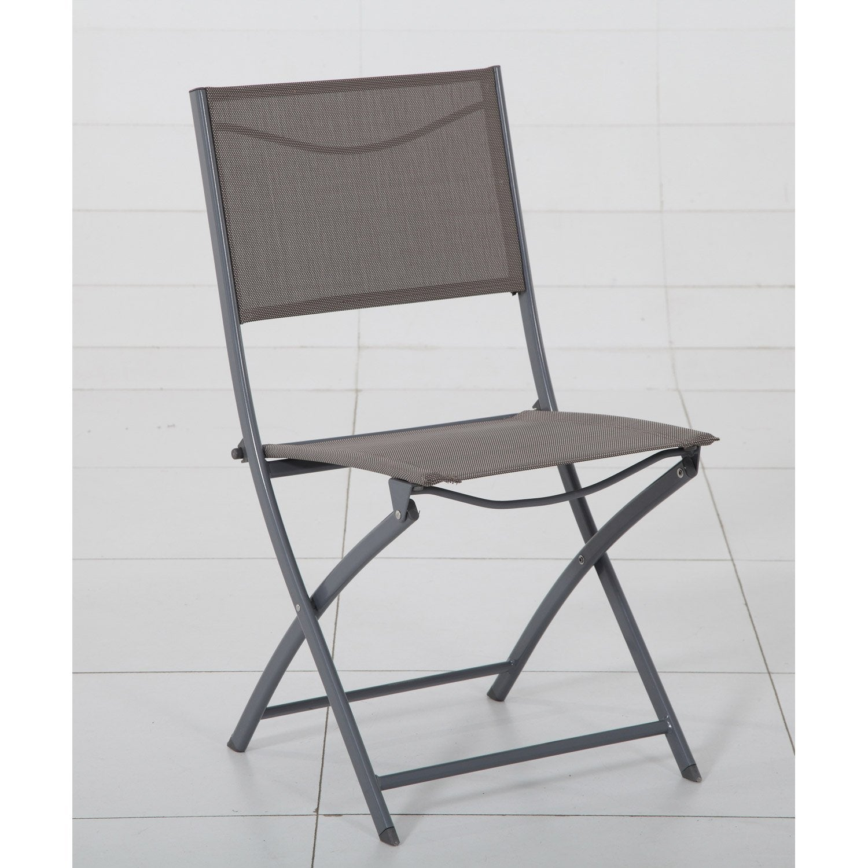 Chaise de jardin en acier modula taupe leroy merlin for Chaise balancoire jardin