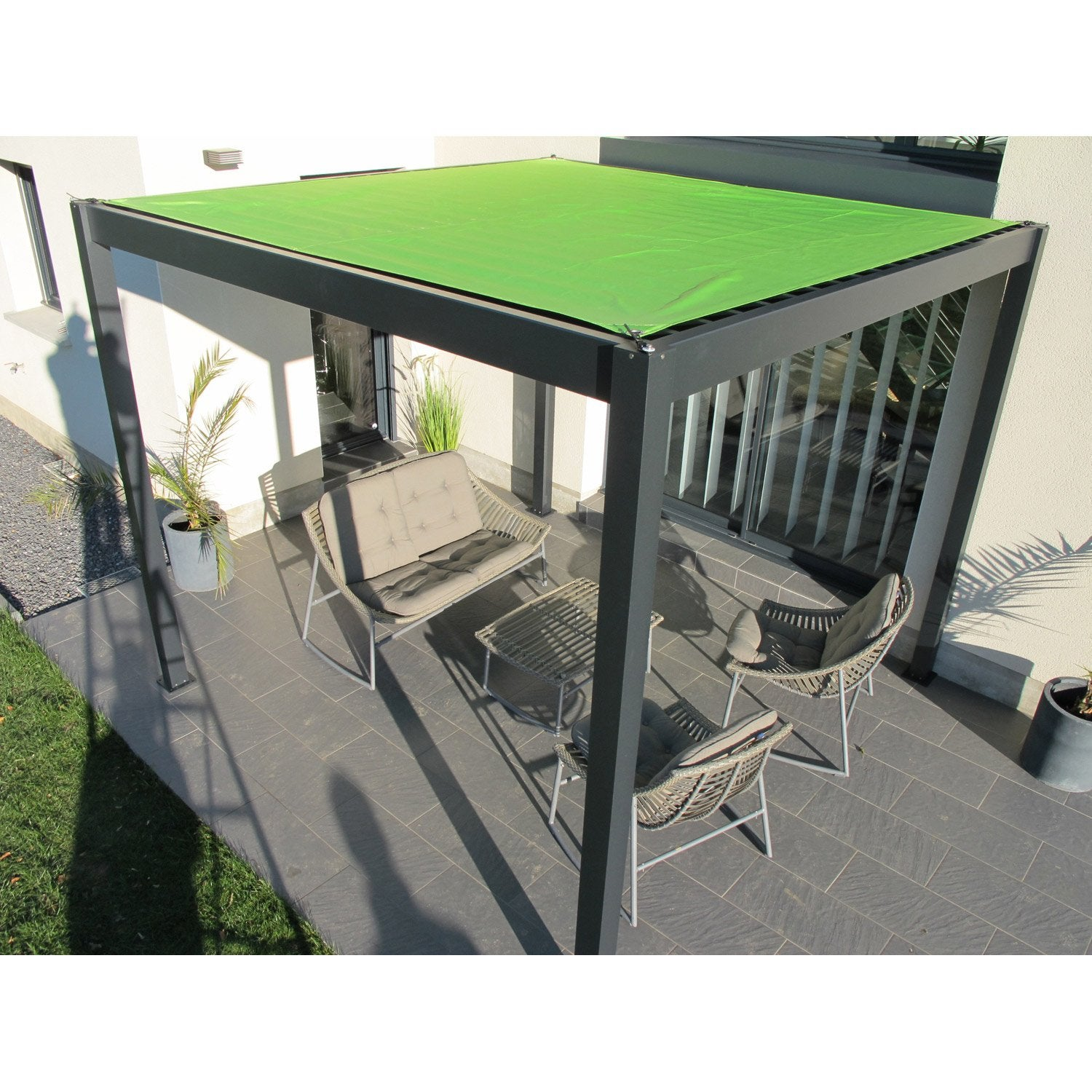 pergola autoportante ombrie aluminium gris anthracite 12 m leroy merlin. Black Bedroom Furniture Sets. Home Design Ideas