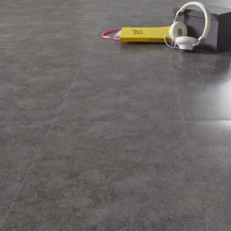 Dalle pvc adh sive anthracite effet b ton aero shy aero leroy merlin - Dalles vinyle adhesives ...