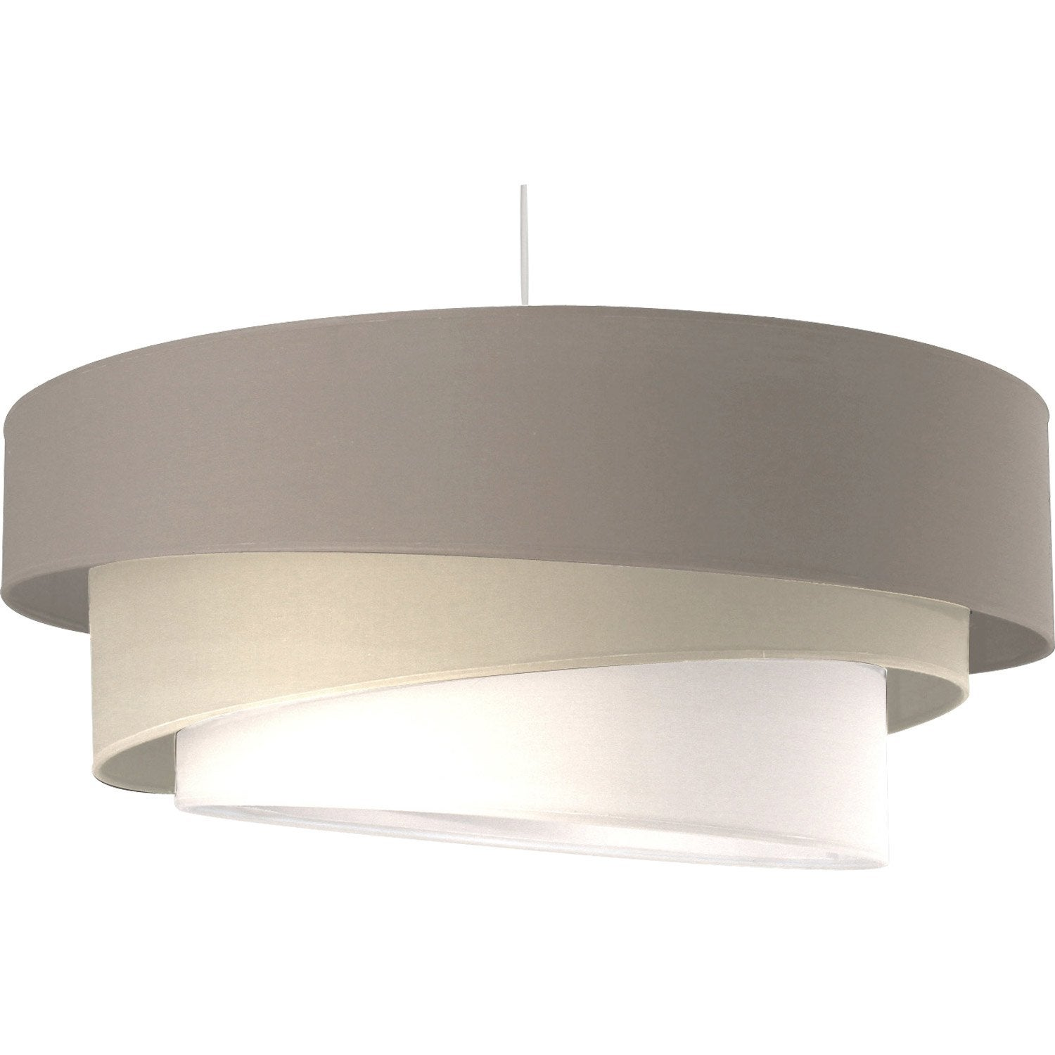 Suspension moderne ionos coton gris et blanc 1 x 60 w for Leroy merlin luminaire