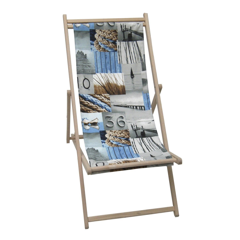 chilienne de jardin en tissu l 39 air du large bleu leroy merlin. Black Bedroom Furniture Sets. Home Design Ideas