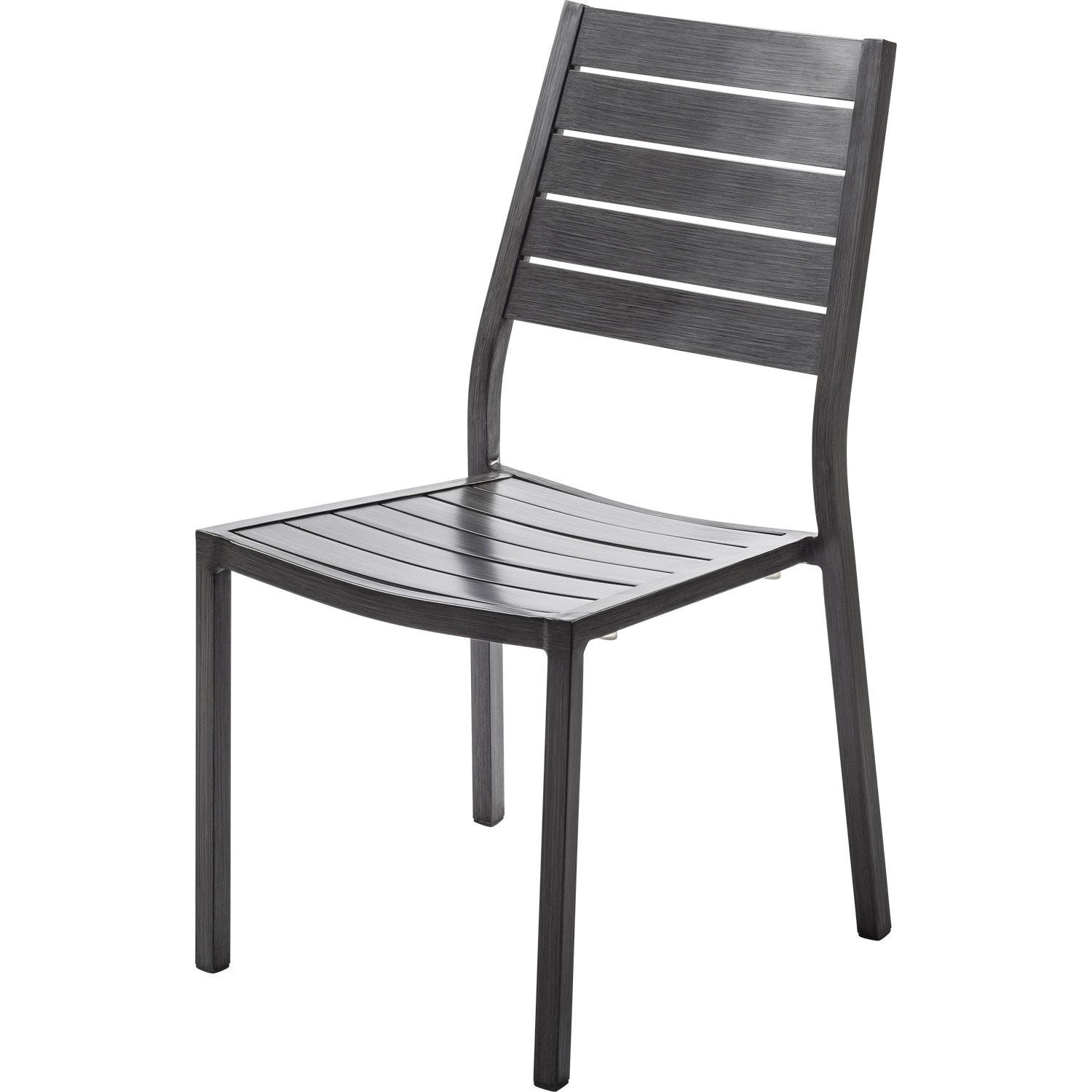 Chaise de jardin en aluminium antibes ice argent leroy for Table et chaise de jardin en aluminium