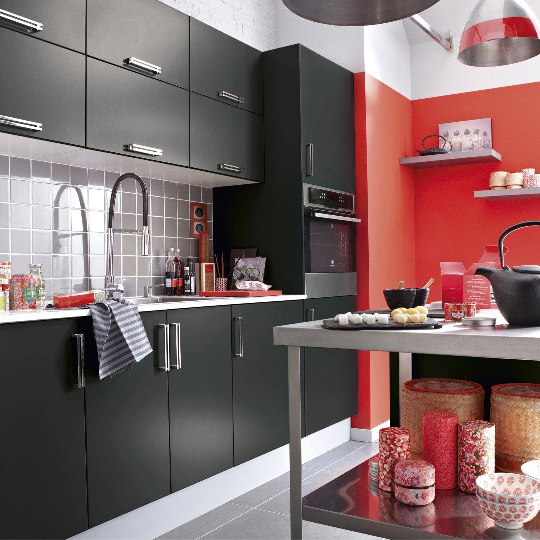 Meuble de cuisine noir delinia d lice leroy merlin for Cuisine equipee meuble