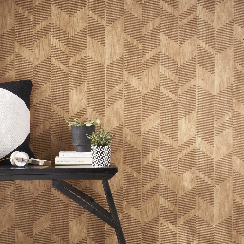 papier peint intiss chevron bois beige leroy merlin. Black Bedroom Furniture Sets. Home Design Ideas