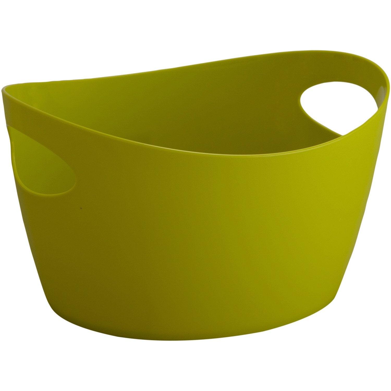 Panier en plastique jaune anis 3 potichelli leroy merlin for Portillon plastique