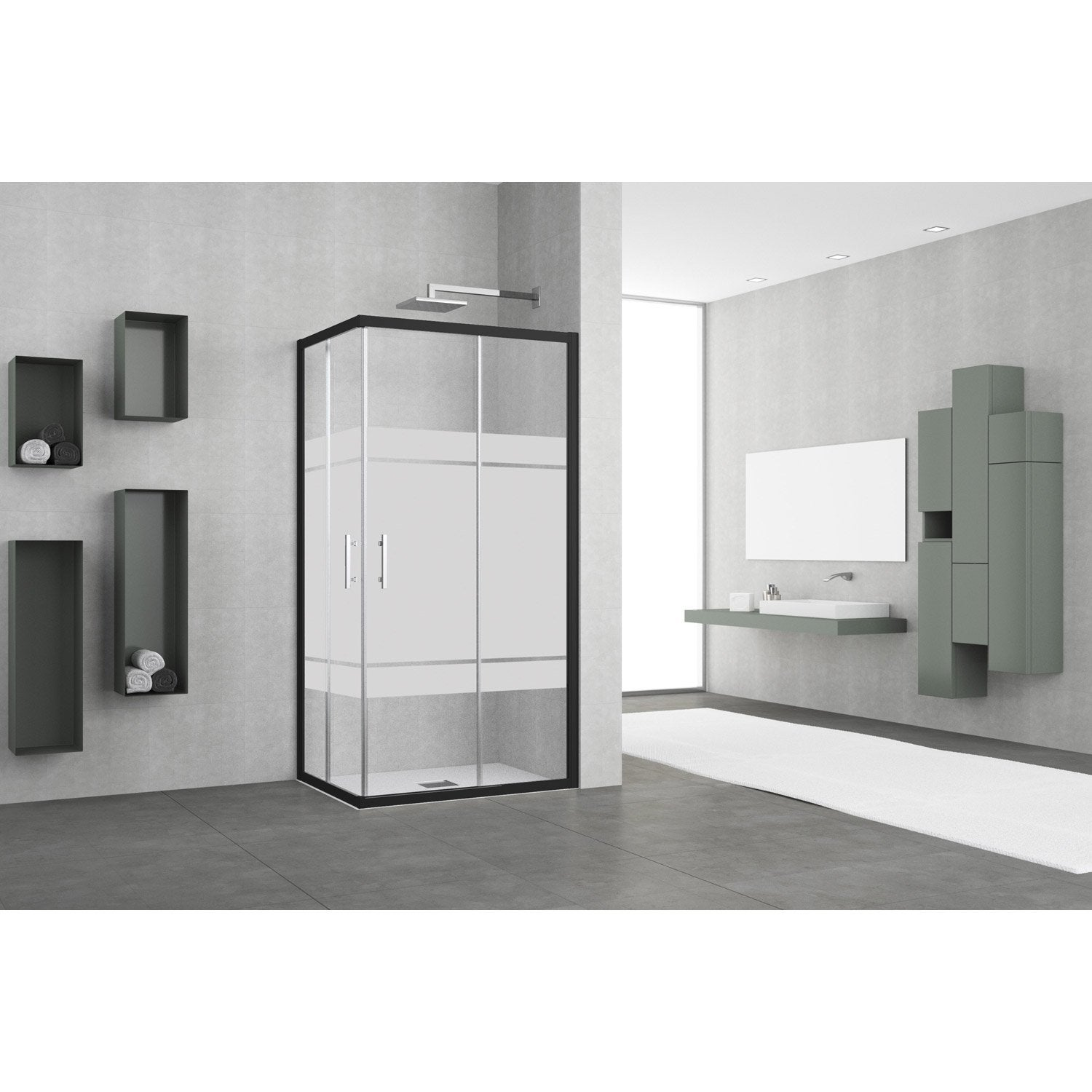 Porte de douche coulissante angle rectangle x cm noir elyt le - Porte coulissante douche 100 ...