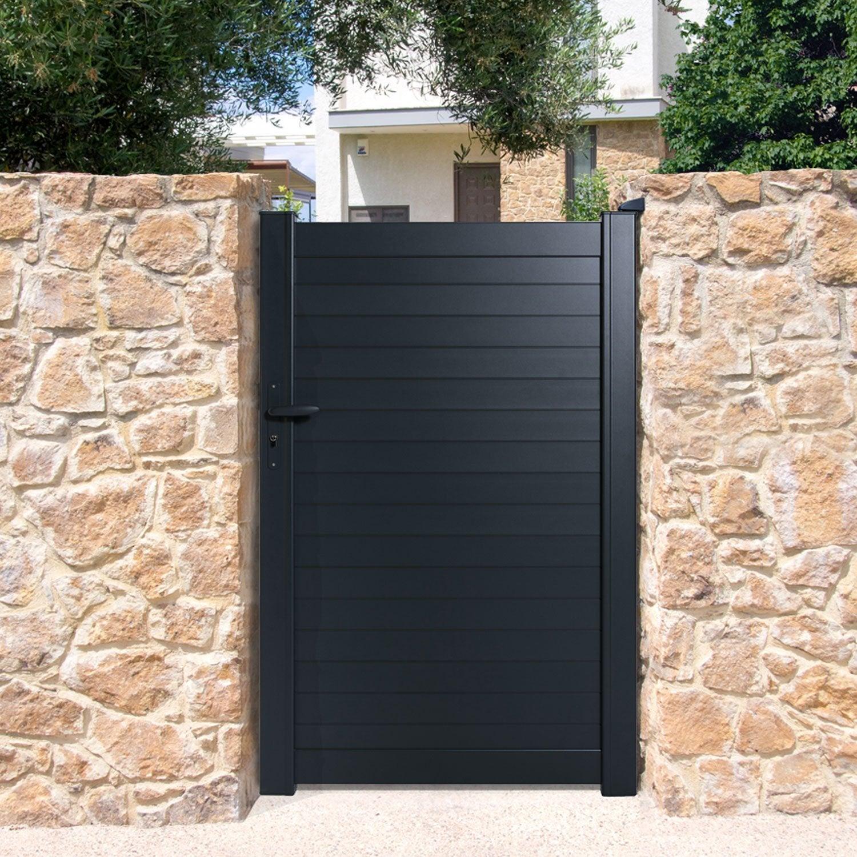 portillon battant naterial concarneau x cm anthracite leroy merlin. Black Bedroom Furniture Sets. Home Design Ideas