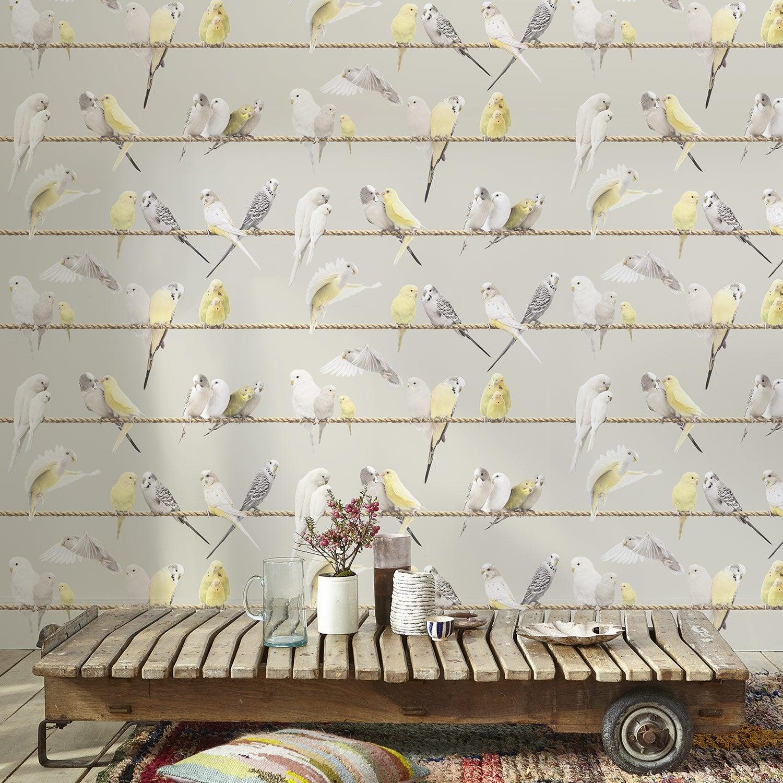 Latest papier peint intiss oiseaux fond couleur gris taupe for Papier peint couleur taupe