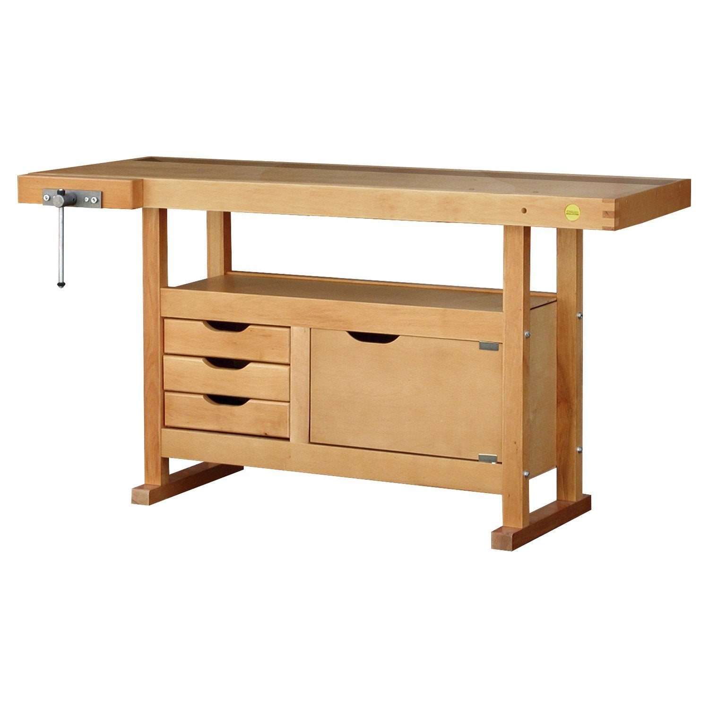 Etabli en bois outifrance avec 3 tiroirs 1 porte leroy for Porte bois 60 cm