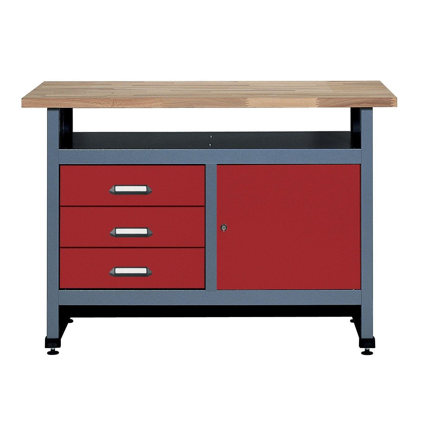 etabli de m canicien kupper 120 cm rouge leroy merlin. Black Bedroom Furniture Sets. Home Design Ideas