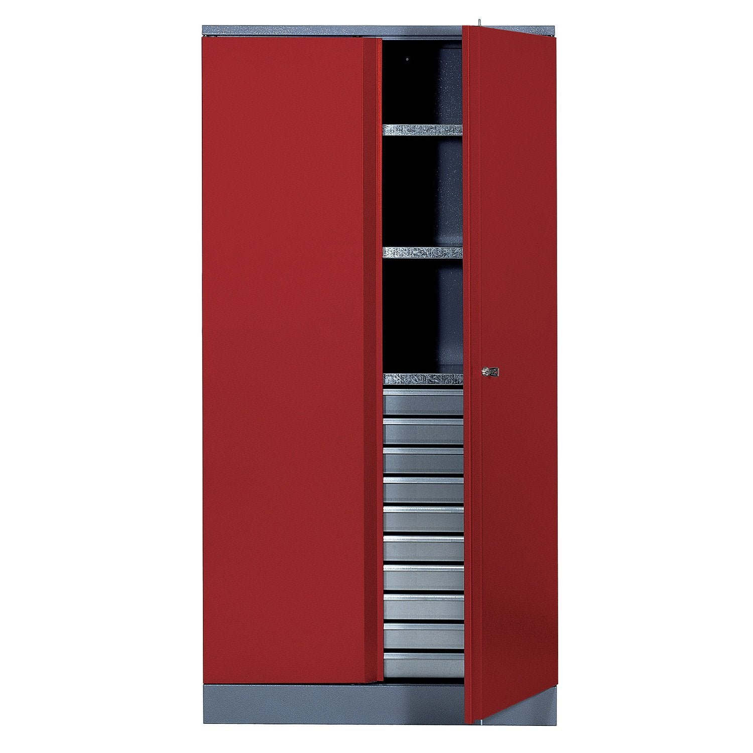 armoire de rangement en m tal rouge kupper 91 cm 1 porte 10 tiroirs leroy merlin. Black Bedroom Furniture Sets. Home Design Ideas