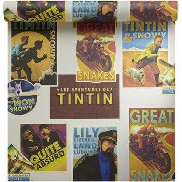 Papier peint sur papier tintin vintage, multi couleur, larg. 0.53 m