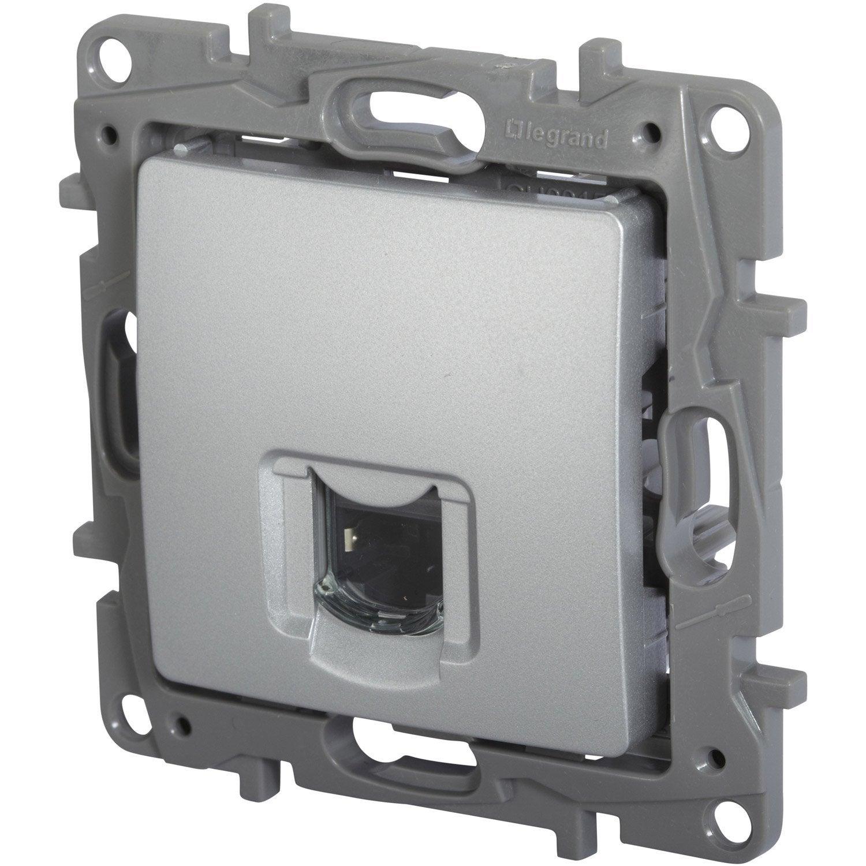 Prise rj45 nilo legrand gris aluminium leroy merlin - Prise rj45 legrand ...