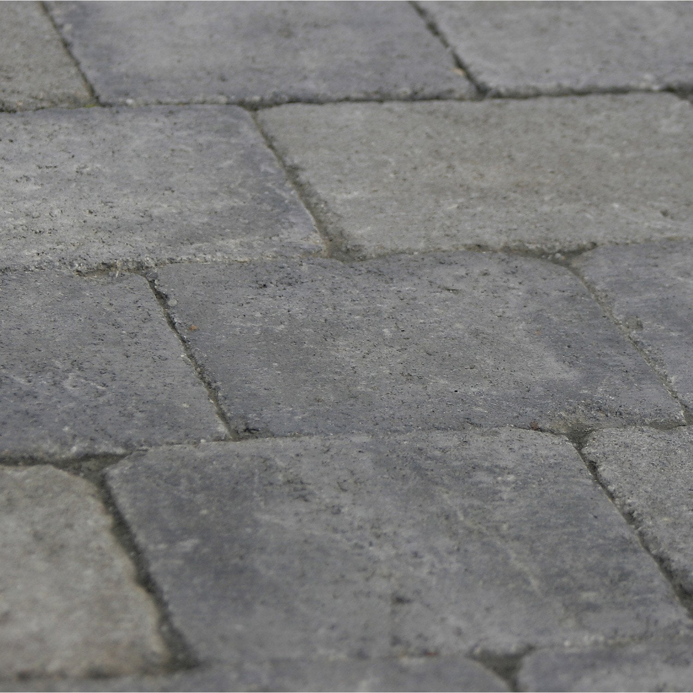 Pav samara en b ton gris noir nuanc 12x17 5 15x15 p for Pave noir leroy merlin