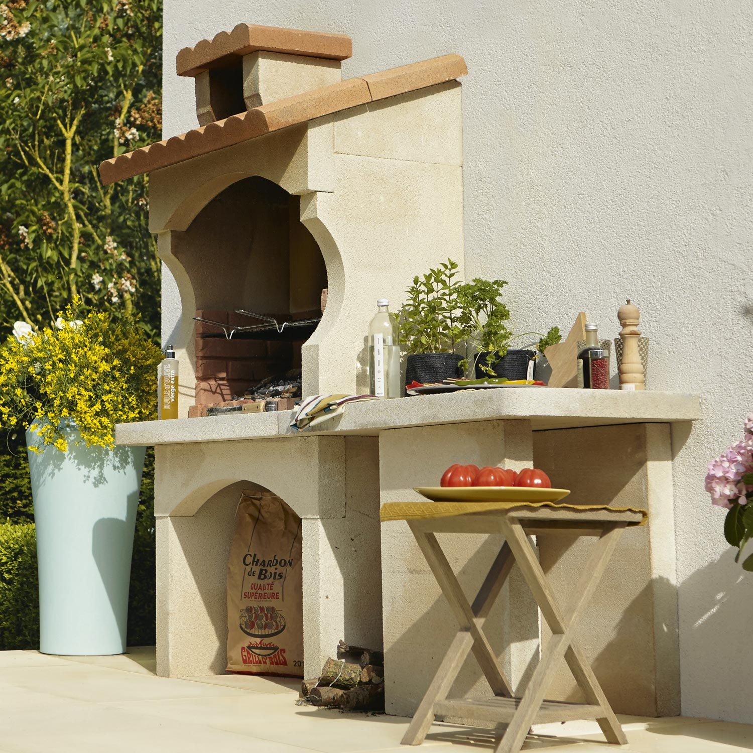 Barbecue en b ton blanc et orange cusco x x h - Beton decoratif leroy merlin ...