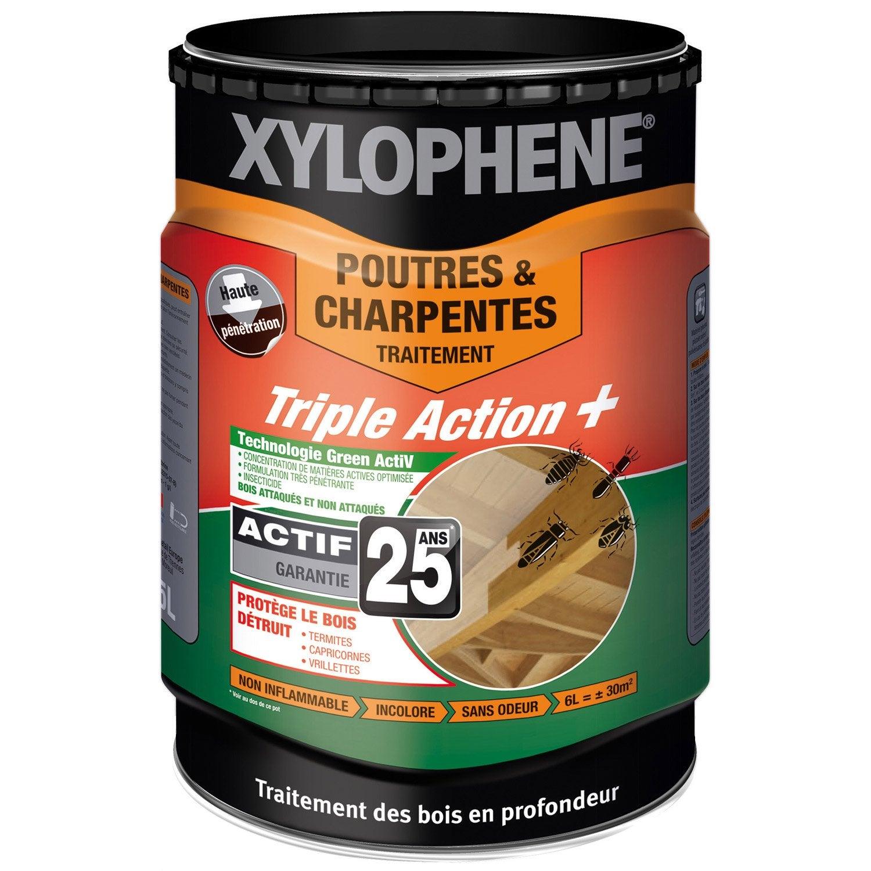 Traitement Bois Charpente - Traitement bois pour poutre et charpente, 20 ans XYLOPHENE, 5 L Leroy Merlin