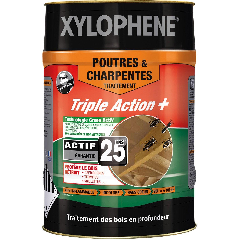 Traitement Poutre Bois Interieur - Traitement bois pour poutre et charpente, 20 ans XYLOPHENE, 20 L Leroy Merlin