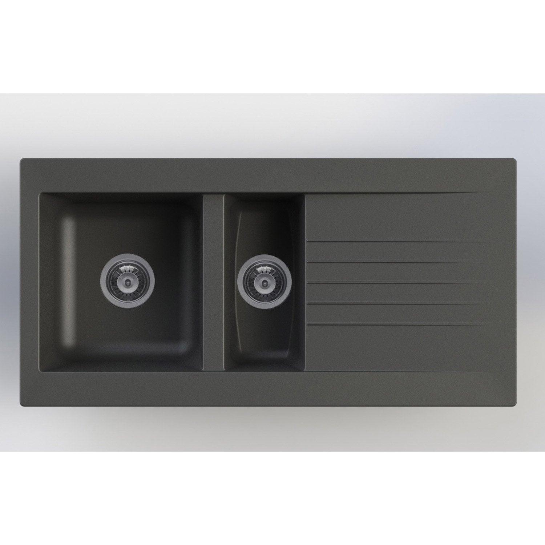 evier encastrer r sine noir karta 1 5 bac avec. Black Bedroom Furniture Sets. Home Design Ideas