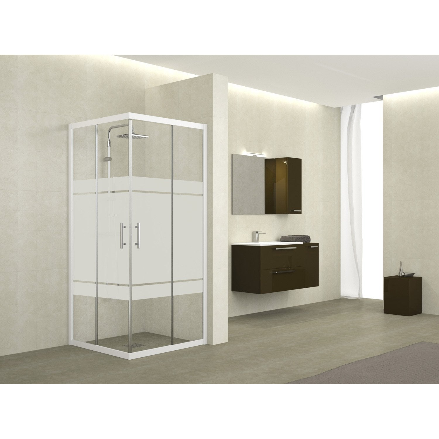 Porte de douche angle carre coulissante for Porte de douche leroy merlin