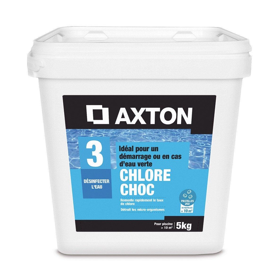 Chlore choc piscine axton pastille 5 kg leroy merlin for Chlore choc piscine