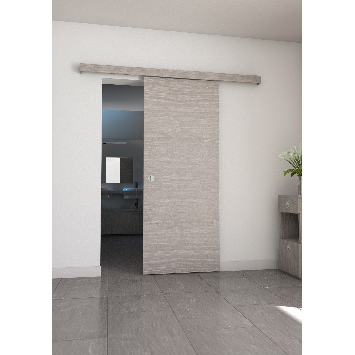Ensemble porte coulissante coulicool mdf rev tu aluminium for Porte salle de bain leroy merlin