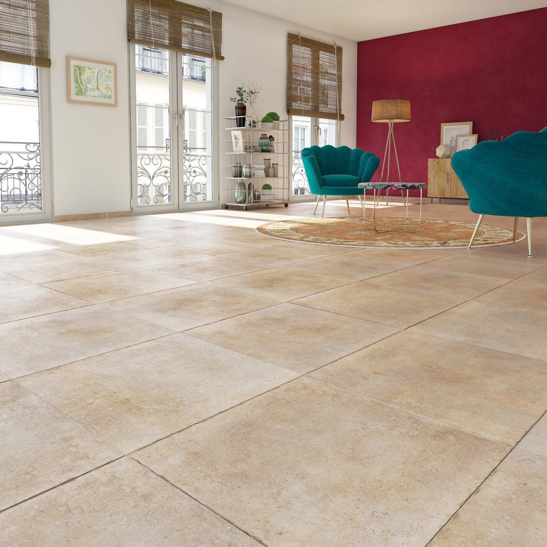 carrelage sol et mur beige effet pierre hier l 60 4 x l 60 4 cm