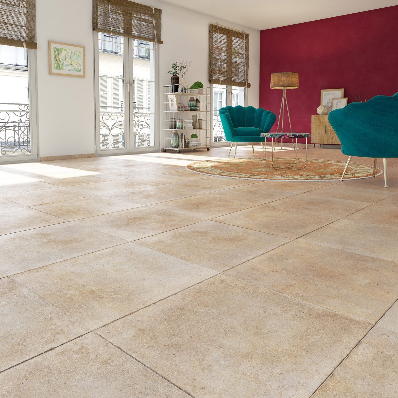 Carrelage sol et mur beige effet pierre hier x for Carrelage 30x30 beige