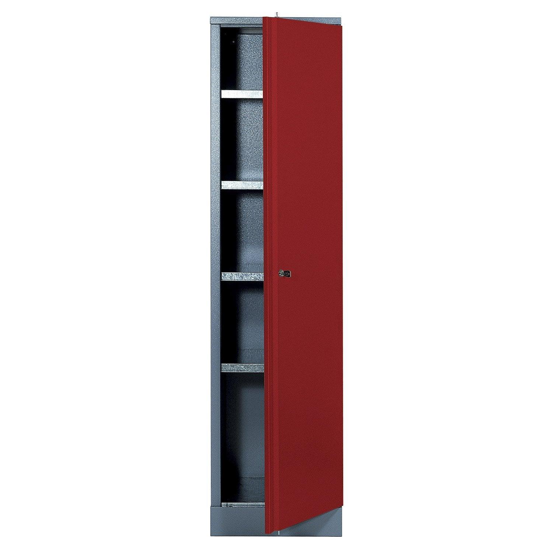 Armoire de rangement en m tal rouge kupper 45 5 cm 1 porte - Leroy merlin casier rangement ...